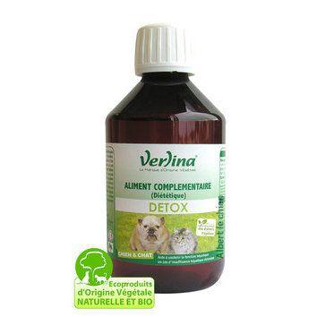 """DETOX, aide à détoxifier le foie  -  21.85e - Ce complément alimentaire diététique """"DETOX"""" de chez Verlina est destiné aux chiens et aux chats. Il aide à détoxifier le foie et l'appareil digestif. Il aide également à soutenir la fonction hépatique en cas d'insuffisance hépatique chronique."""