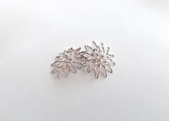 Vtg 925 Sterling Silver Small Floral Clip