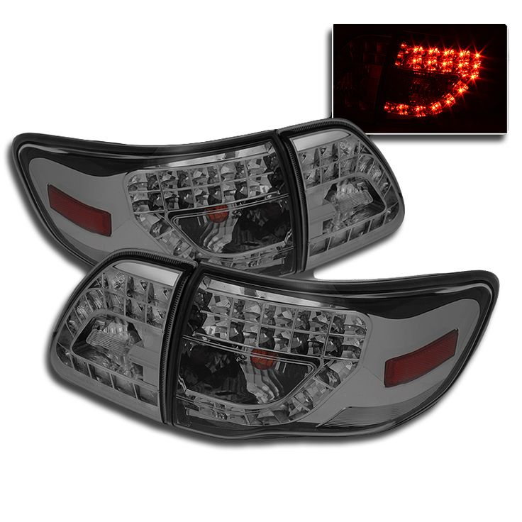 2009-2010 Toyota Corolla Euro LED Tail Lights (LED Indicator) - Smoked ALT-YD-TC09-LED-G3-SM By Spyder