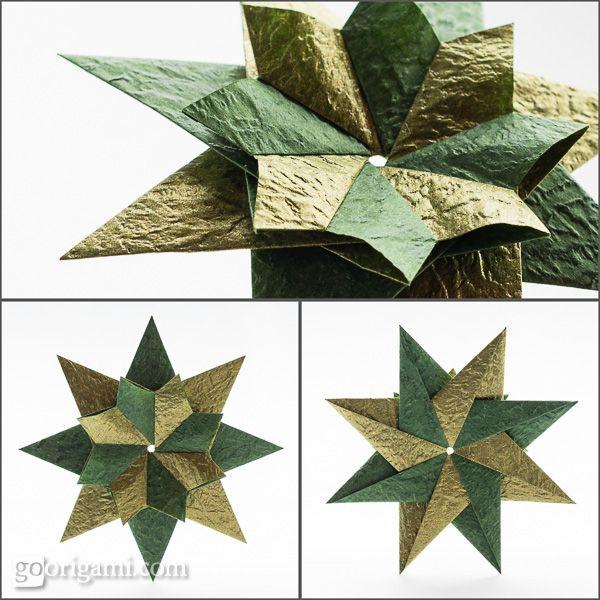 Modular Origami Star (Maria Sinayskaya) rectangles (A4 ratio), 8 units, no glue