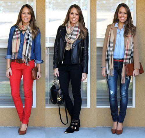 Plaid scarf, 3 ways