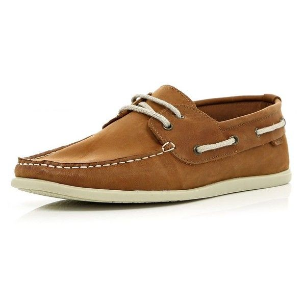 River Island Brown lace up soft boat shoes ($48) ❤ liked on Polyvore featuring men's fashion, men's shoes, men's loafers, shoes, kevin stuart, mens brown boat shoes, mens deck shoes, mens boat shoes, mens rubber shoes and sperry top sider mens shoes