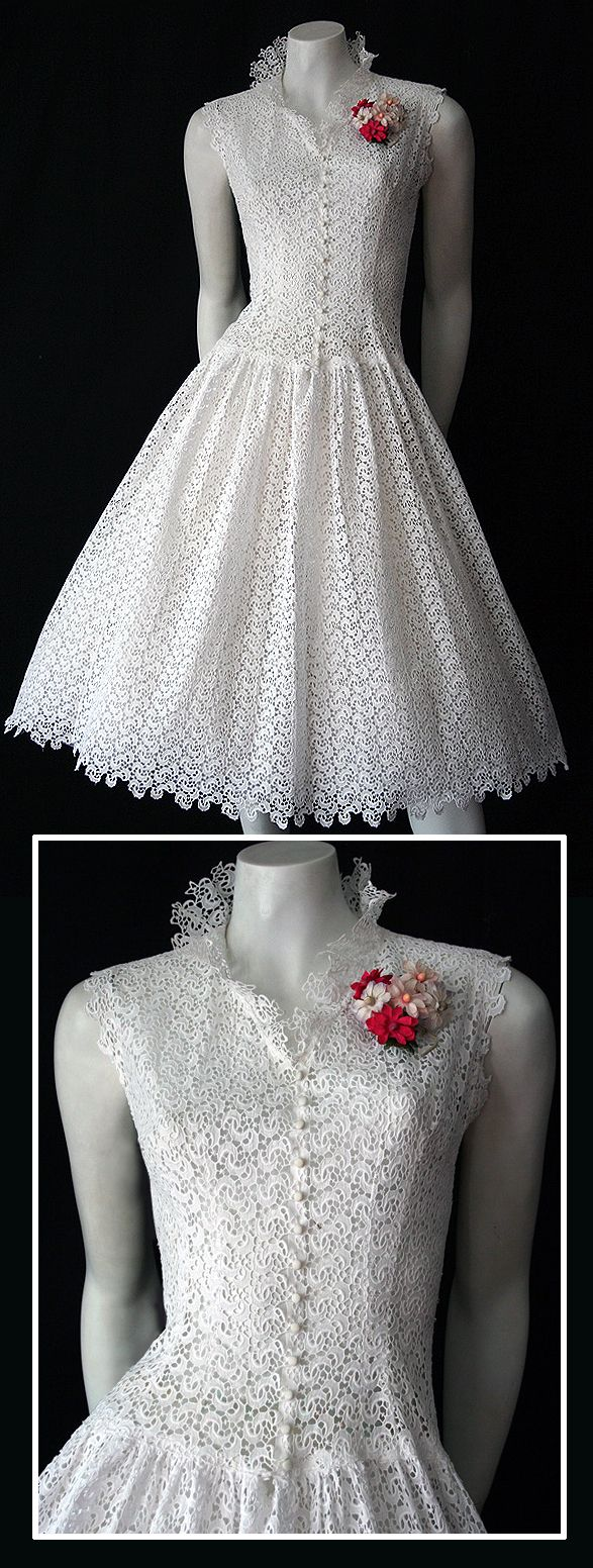 ~50s white lace dress~