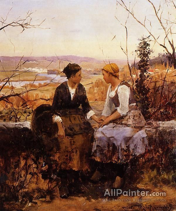 daniel ridgway knightthe two friends oil painting reproductions for sale - Nettoyer Une Peinture A L Huile Encrassee