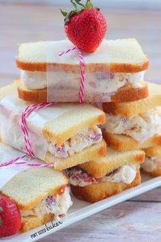 Strawberry Shortcake Ice Cream Sandwiches for strawberry season and hot summer days!