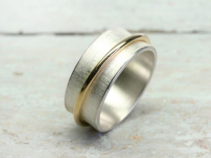 Ringe - Drehring ORBIT 8.5mm aus 925 Silber 333 Gelbgold - ein Designerstück von…