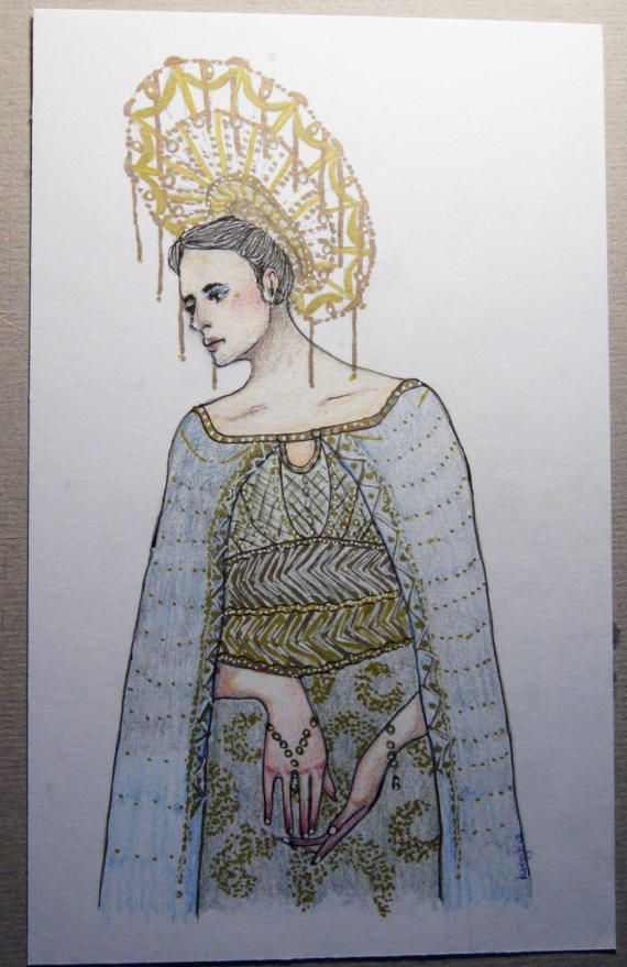 original woman girl portrait gold pen white gel godess by Rybaart
