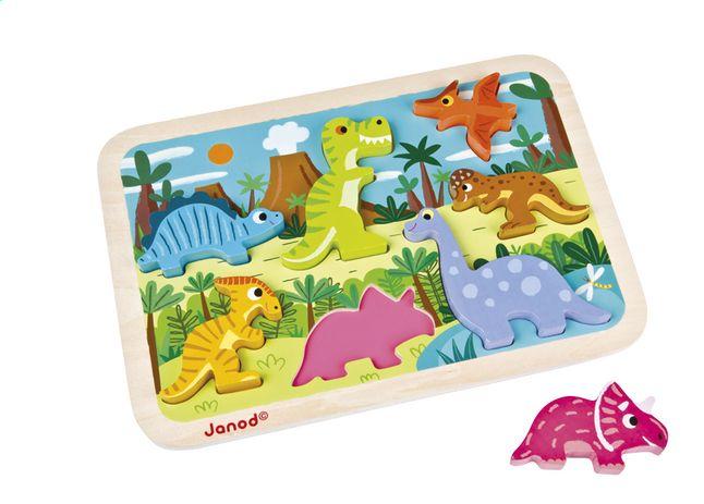 Help je kleintje de juiste plaats te vinden voor elke dinosaurus in de Chunky Puzzle van Janod!