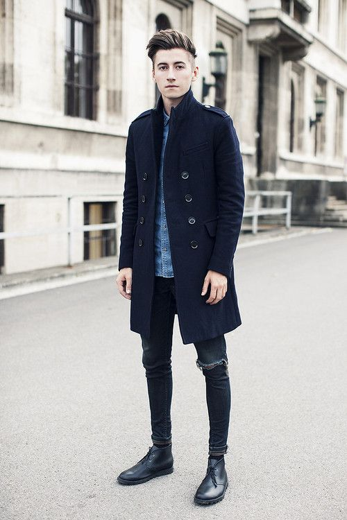 ripped skinny jeans blue coat jacket fashion men tumblr leather desert boots clarks style streetstyle tumblr