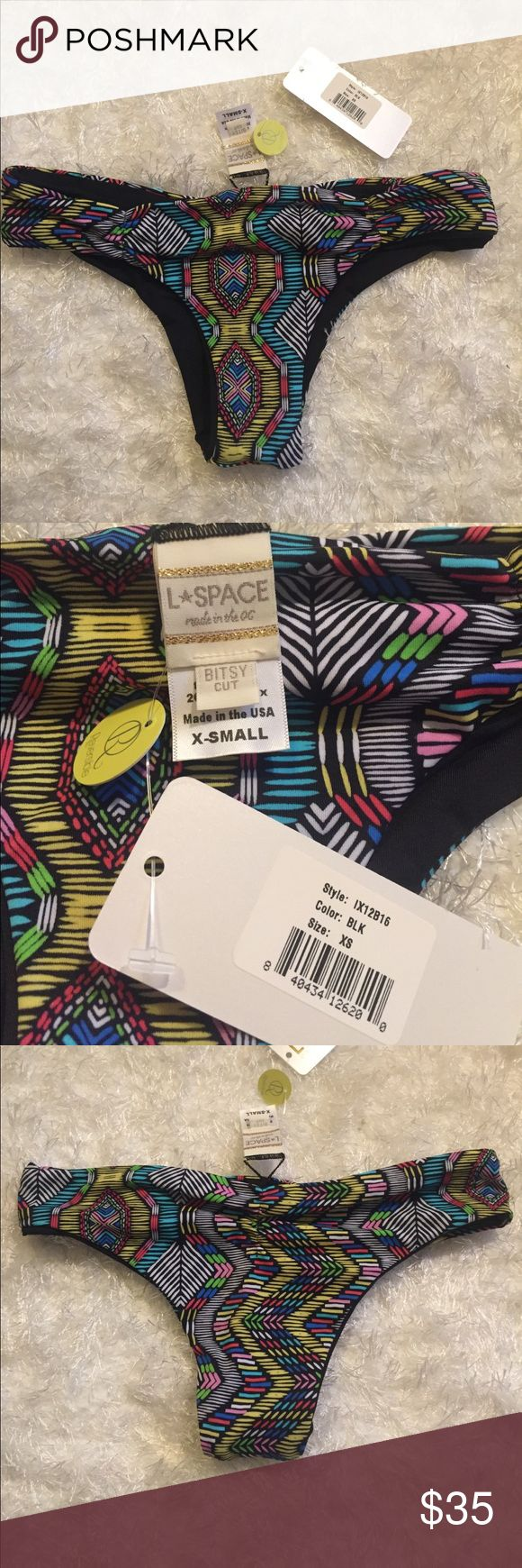 L*Space Swim Bitsy Cut Reversible Bottoms XS NWT and liner! Never worn. Aztec and reversible solid black L*Space Swim bottoms! l*space Swim Bikinis