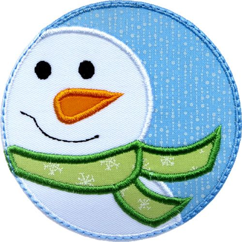 Snowman Circle Patch Applique by HappyApplique.com