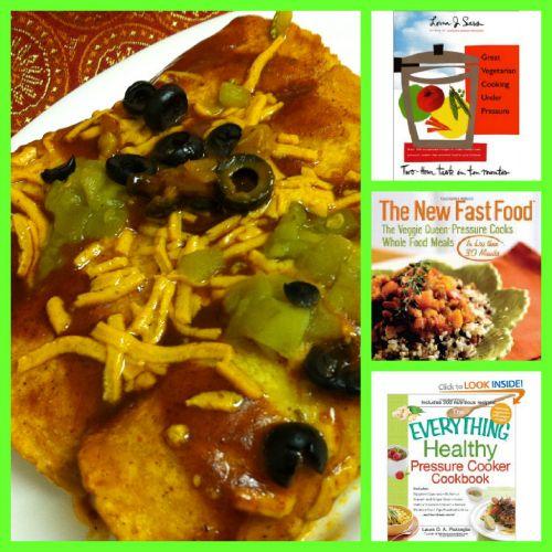 My favorite pressure cooker cookbooks for vegans + A Jackfruit and Sweet Potato Enchiladas Recipe