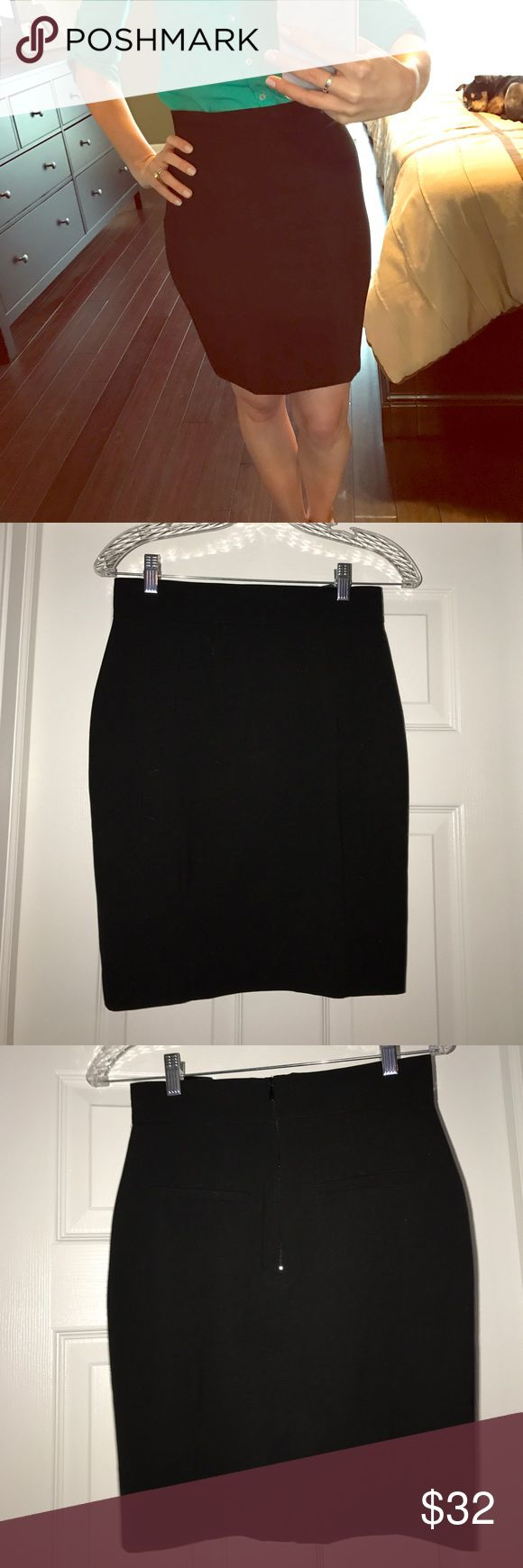 NWOT black high waisted skirt Never worn high waisted black skirt with zipper, faux pockets, and slit in the back. Fully lined. Size 6, but fits more like a 4 in my opinion. H&M Skirts Pencil