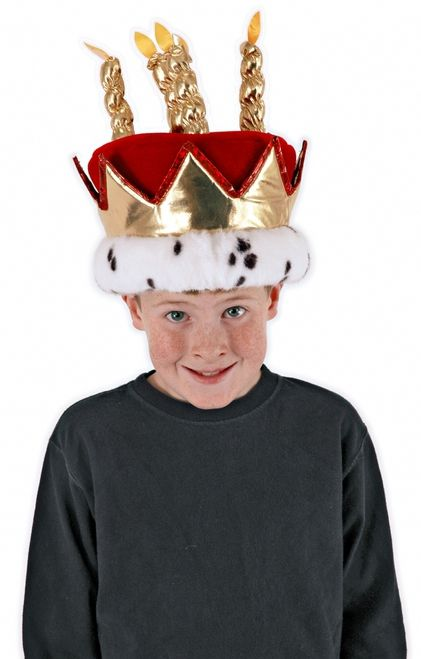 Birthday King Costume Hat With Candles - The king always gets what he wants on his Birthday, especially when he wears this majestic red velvet / faux fur birthday king hat/crown.This is a red velvet hat with 5 gold lame' candles, each with a fake yellow flame. The base of the crown has white faux fur trim with black faux fur spots. From the faux fur base is red trimmed gold lame' crown points going all the way around the base of the hat. #crown #hat #yyc #costume