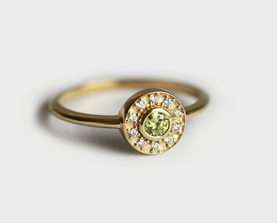 Gold Peridot Ring Peridot Engagement Ring Halo by capucinne