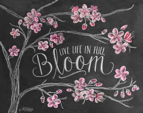 cherry blossoms chalk art