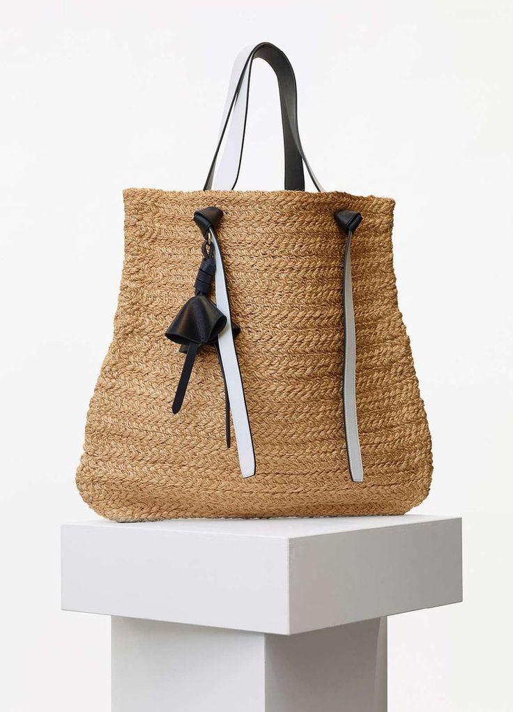 Large Basket in Straw Weaving and Black Calfskin - Céline