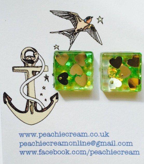 Lime green and gold heart square glitter resin earrings by PeachieCreamOnline on Etsy https://www.etsy.com/listing/236361505/lime-green-and-gold-heart-square-glitter