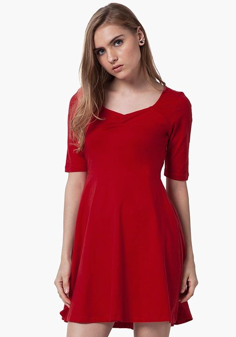 Buy ladies dresses , red mini skater dress online at best price at FabAlley.com
