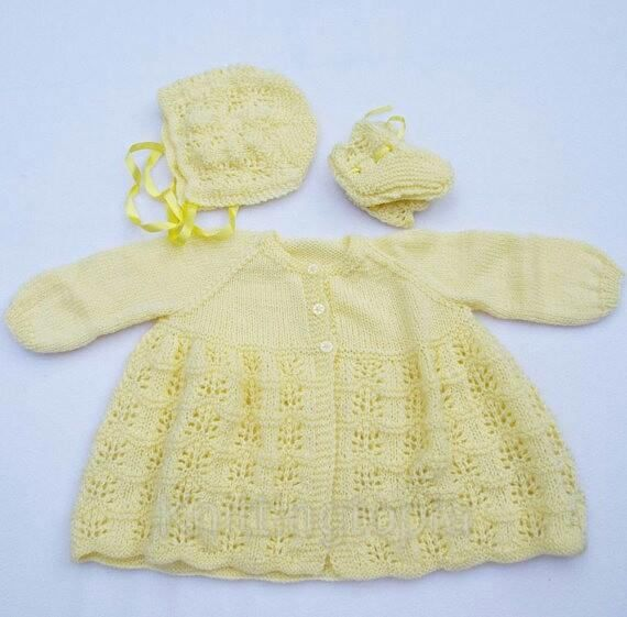 0-3 MONTHS NEW BABY HAND KNITTED MITTENS LEMON ACRYLIC WOOL