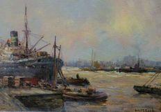 Jur. M. Beek (1879-1965) - Harbour scene