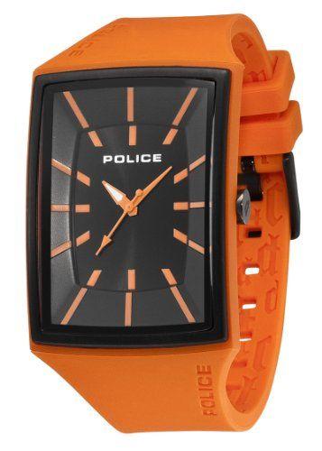 police vantagex orange rubber menu0027s watch