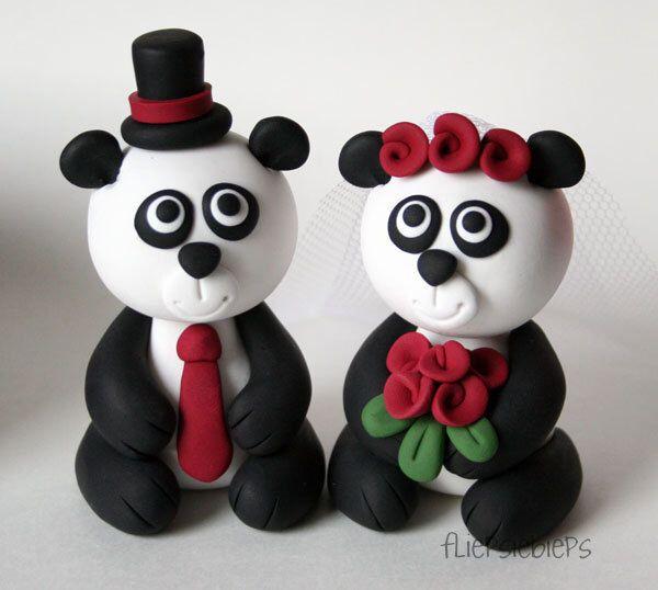 Custom Panda Bear Wedding Cake Topper by fliepsiebieps on Etsy https://www.etsy.com/listing/125554630/custom-panda-bear-wedding-cake-topper