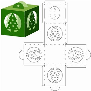 Silhouette Design Store - View Design #6227: Christmas tree cube ornament