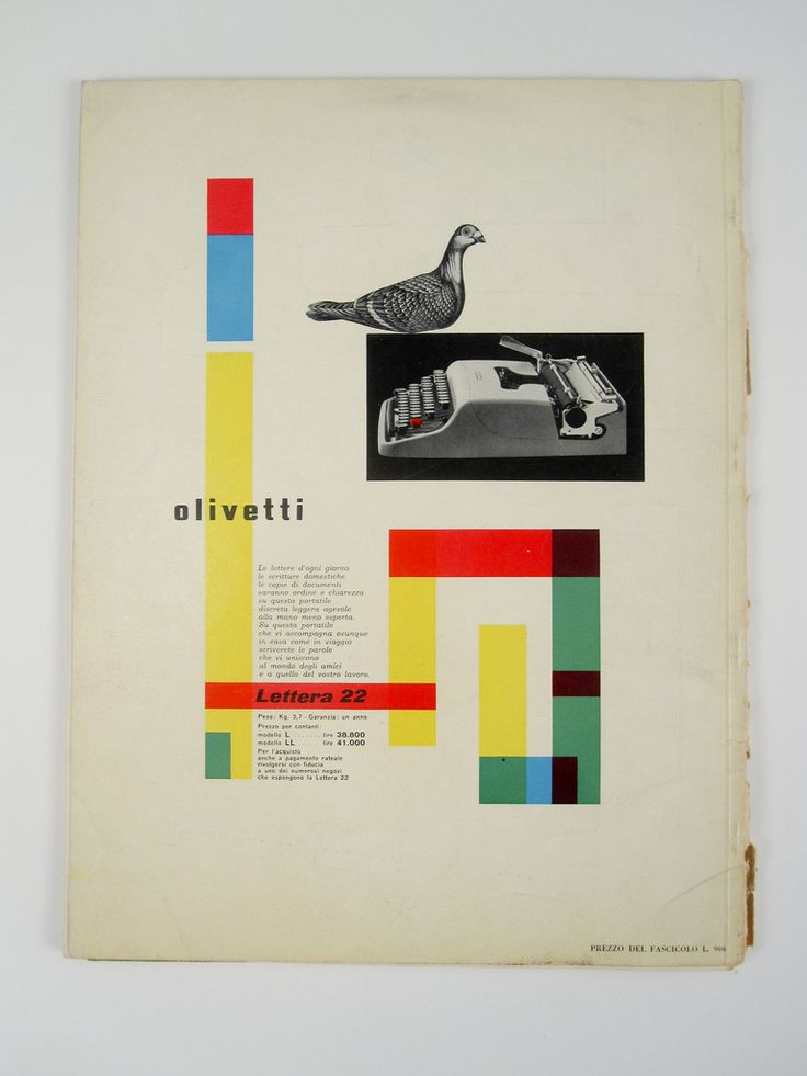 Ad for Olivetti Lettera 22 typewriter on the back of the Stile Industria magazine, issue #2, 1954