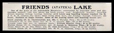 Atateka 1915 Friends Lake Leading Hotels & Boarding Houses Adirondacks NY AD