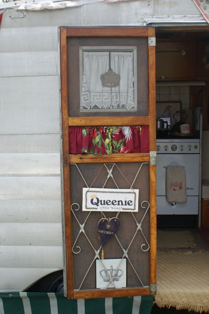 "Cool door on '53 King Travel Trailer ""Queenie"""