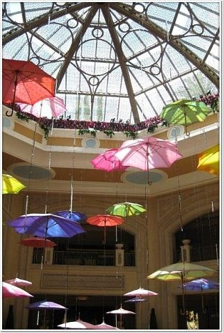 Umbrella decor! This would be cute for a shower and then each person take one home as a favor.