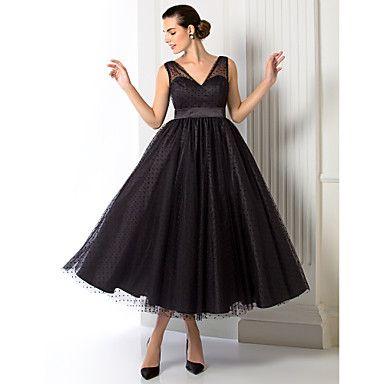 una línea / princesa vestido con cuello en V de té de longitud de tul noche (1301055) – EUR € 90.90