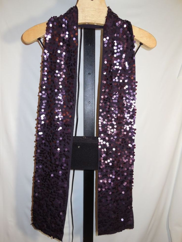 100% MERINO WOOL JERSEY NARROW PURPLE SEQUIN EMBELLISHED SCARF EILEEN FISHER #EileenFisher #Scarf