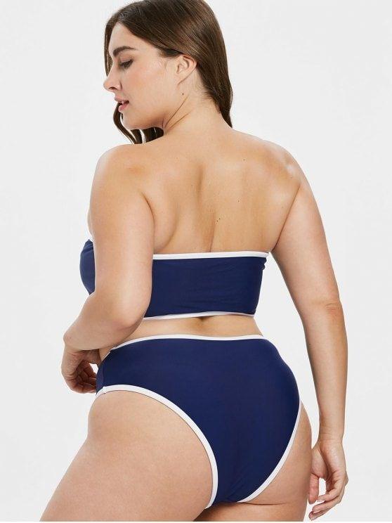 5ccdb8973fd Plus Size Contrast Trim Bandeau Bikini | Swim Wear and Accesories ...