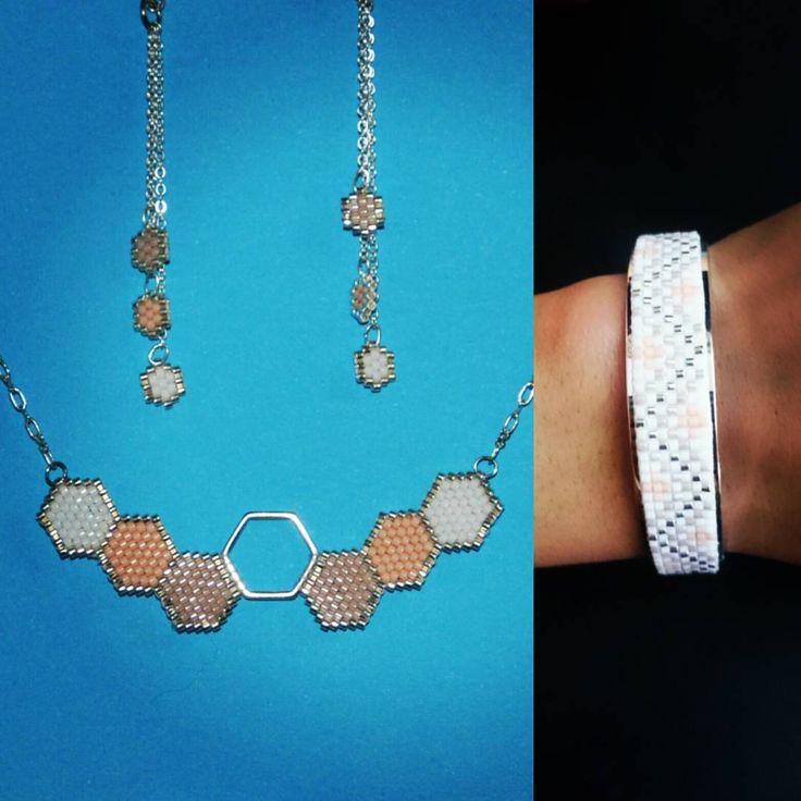 Nouvelle ensemble de bijoux bricks stitch   #instacreative #jenfiledesperlesetjassume #perlemiyuki #perleaddict #tissageperlesmiyuki #brickstitch #manchette #collier #bouclesdoreilles   #couleurs #pastel #handmade #hexagone #cestmoiquilaifait