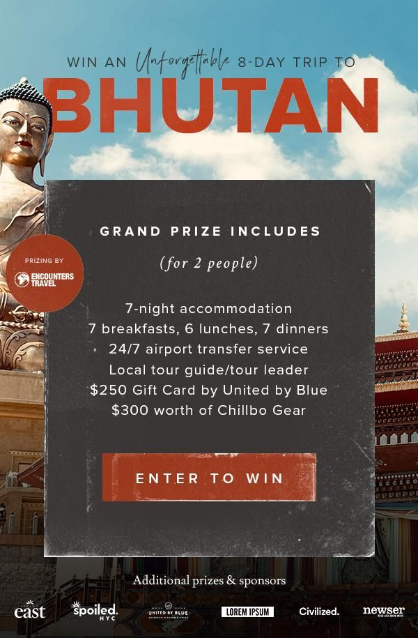 Win a Trip for 2 to Bhutan    Sweepstakes in 2019   Win a