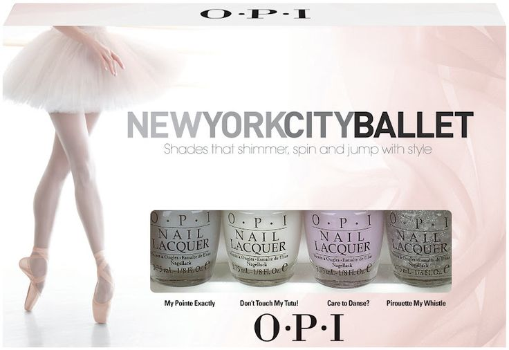 NYCB for OPI:  The New York City Ballet collection by OPI features five en pointe pretty pastel shades and a sparkling silver glitter topcoat which will take your nails from sophisticated office-chic, to stylish evening-glamour in a hop, skip, and a jeté.