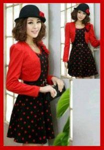 Mini dress polka red KK202