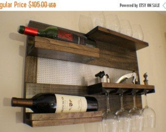 ON SALE Rustic Dark Cherry Stained Wall Mounted by TheKnottyShelf
