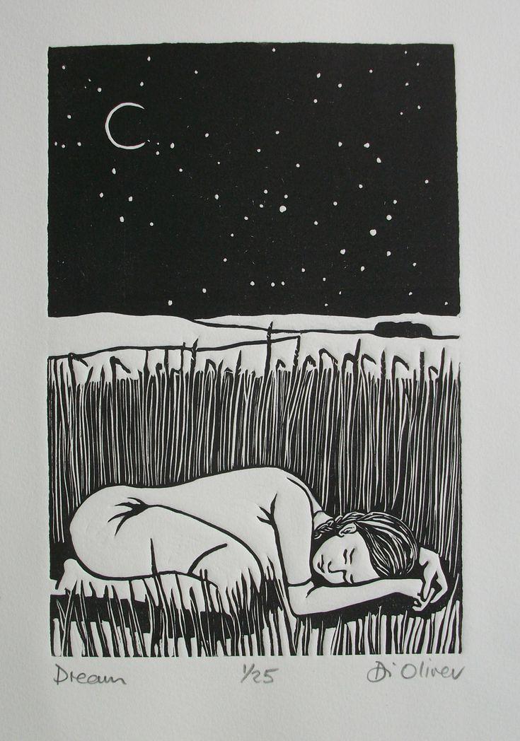"""Dreams"" by Linocut Di Oliver"