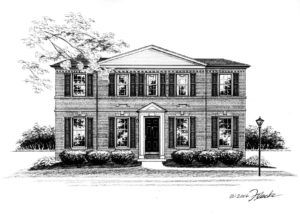 """8"""" x 10"""" Pen and Ink illustration of traditional Colonial style home in Richmond Heights, Missouri home commissioned by a realtor  for a closing gift. Copyright 2016 Richelle Flecke"""