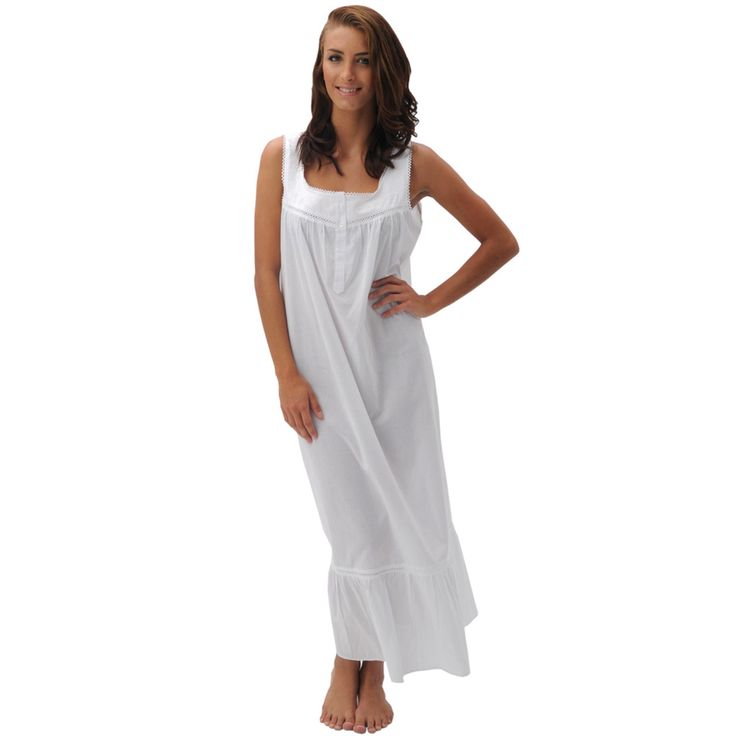 Del Rossa Women's Patricia White Cotton Nightgown | Overstock™ Shopping - Top Rated Alexander Del Rossa Pajamas & Robes