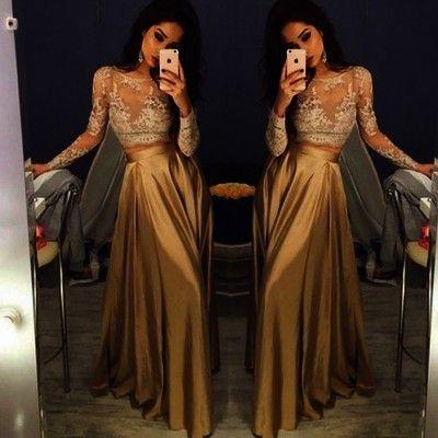 2016 Long Sleeve Gold Prom Dresses,Long Evening Dresses,Prom Dresses On Sale