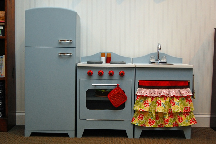 diy play kitchen with running water! oven and sink were inspired by play kitchens built by blueeyedyonder.blogspot.com. refrigerator was our own design.