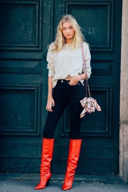 Elsa Hosk rocking red boots. Make a change, this Fall!