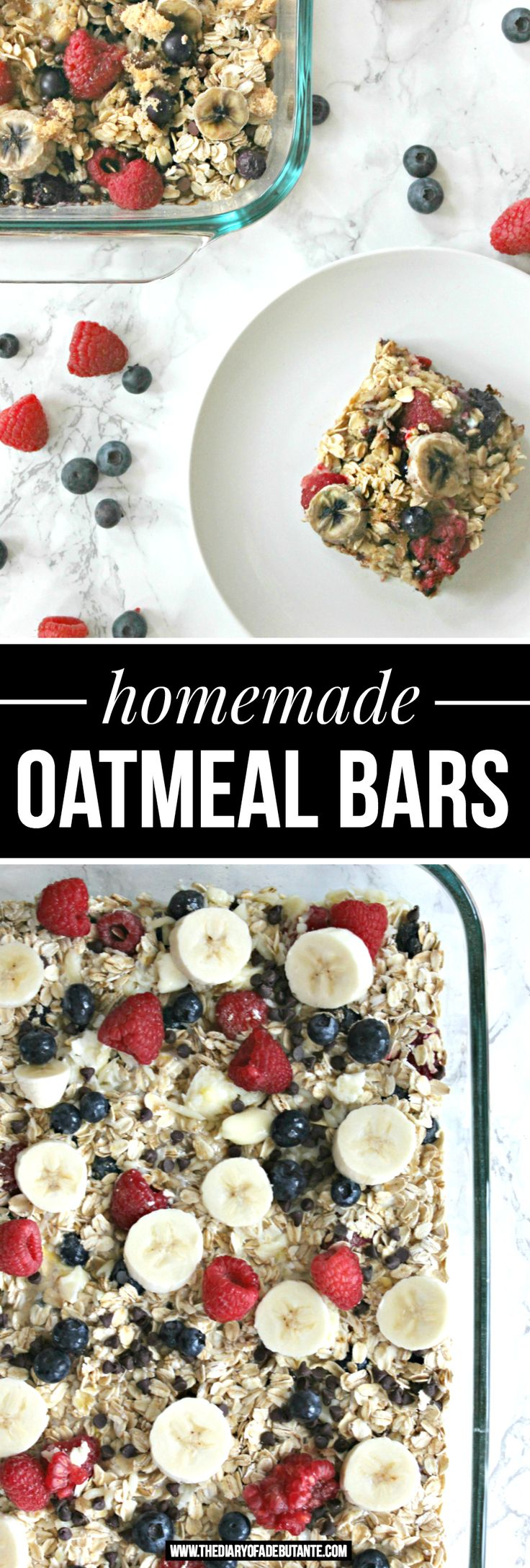These easy homemade oatmeal bars are PERFECT for meal prepping! They can keep in the fridge for over a week | Easy Breakfast Recipe for Homemade Oatmeal Bars