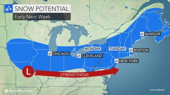 ACCUWEATHER: A major storm may bury the Northeast with heavy snow next week