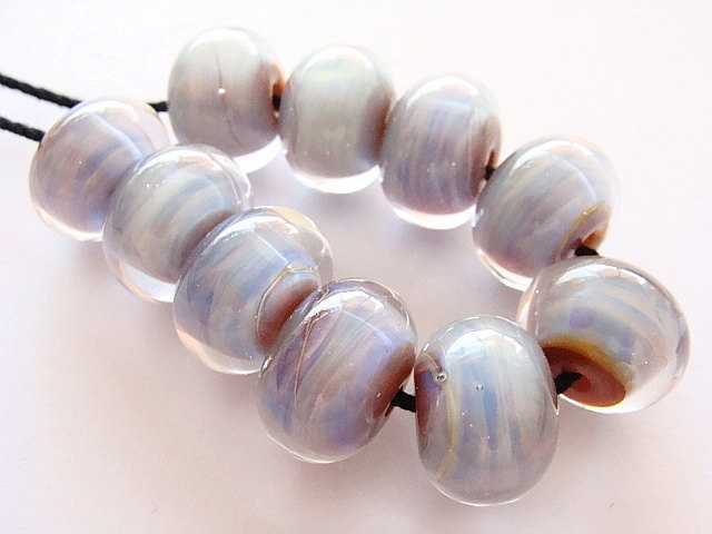 10 handmade lampwork beads made with silver glass ekho and clear italian moretti and american