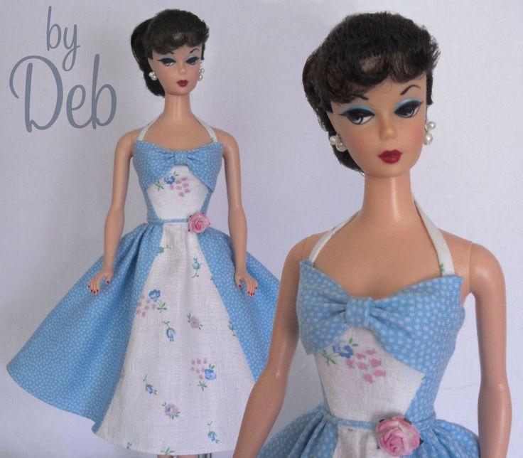 Bow Blue - Vintage Barbie Doll Dress Reproduction Repro Barbie Clothes